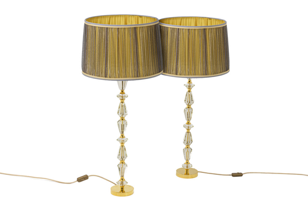 Pair of lamps in glass and gilt bronze, 1940's
