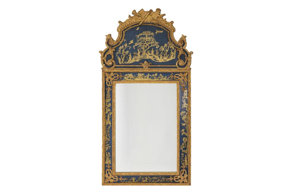 Miroir de style Régence en bois doré et laque bleue, années 1980