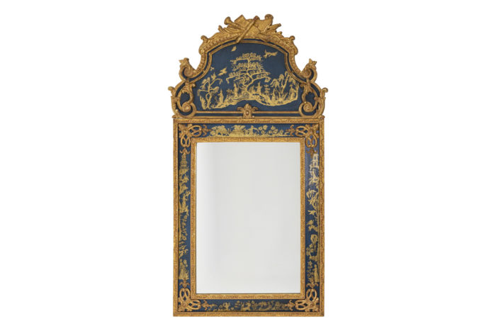 Regence style mirror in gilt wood and blue lacquer