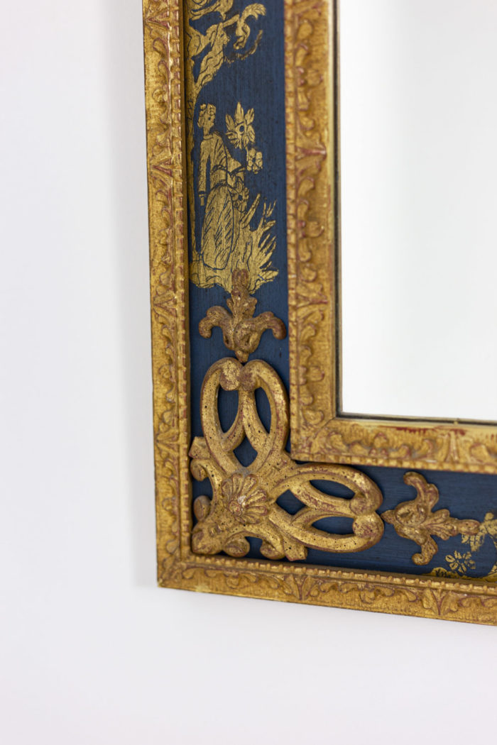 Regence style mirror in gilt wood and blue lacquer 1