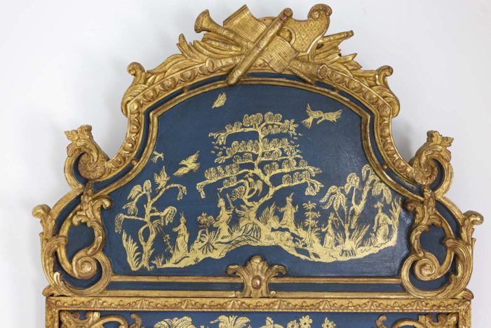Regence style mirror in gilt wood and blue lacquer 4