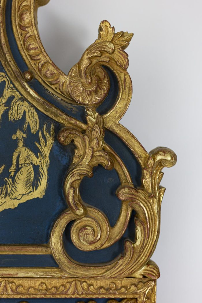 Regence style mirror in gilt wood and blue lacquer 3