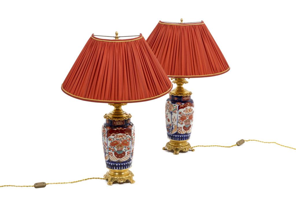 Paire de lampes en porcelaine Imari et bronze doré, XIXème siècle