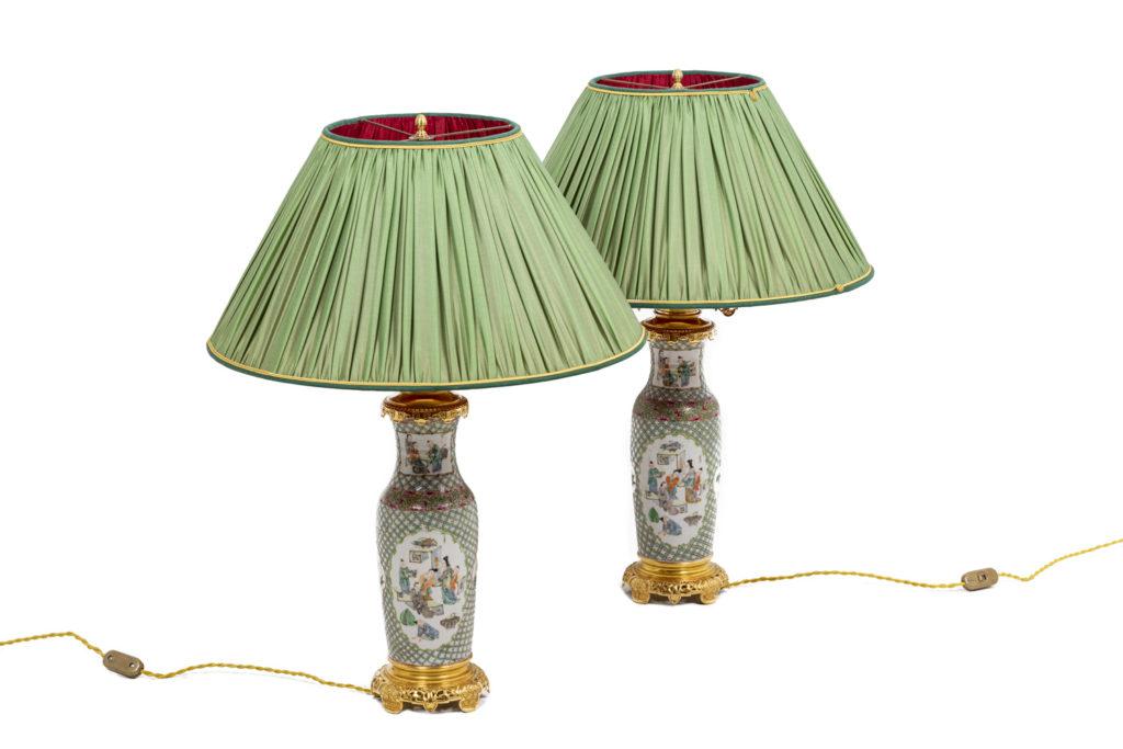 Paire de lampes en porcelaine de Canton, XIXème siècle