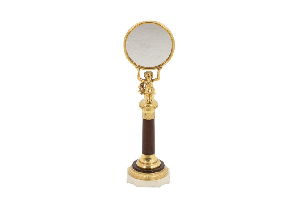 Petit miroir en palissandre et bronze doré, époque Empire