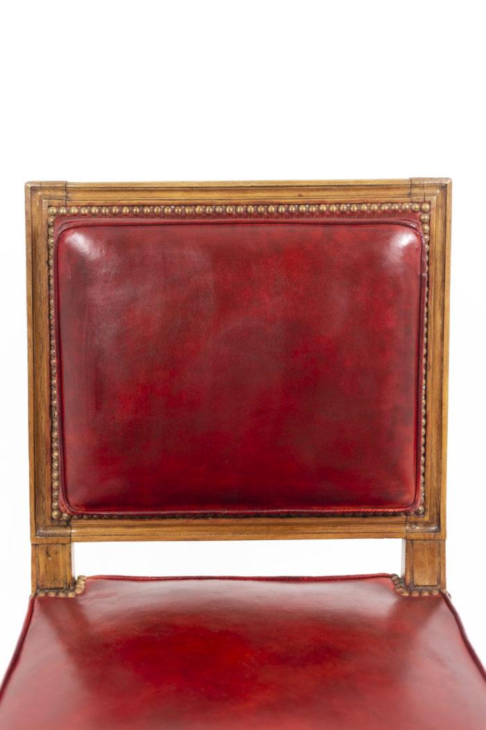Chaise en bois et cuir, époque Louis XVI, détails 4