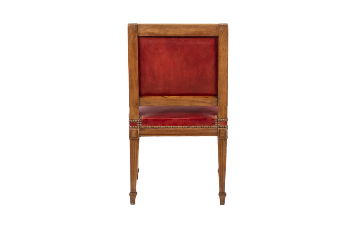 Series of three chairs in wood and leather 7
