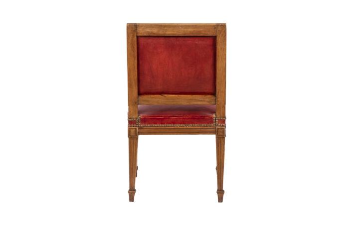 Chaise en bois et cuir, époque Louis XVI, vue de dos
