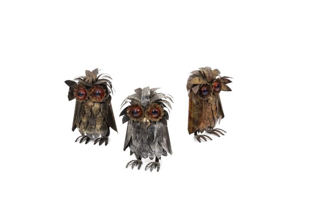 Three owls in metal, 1970's