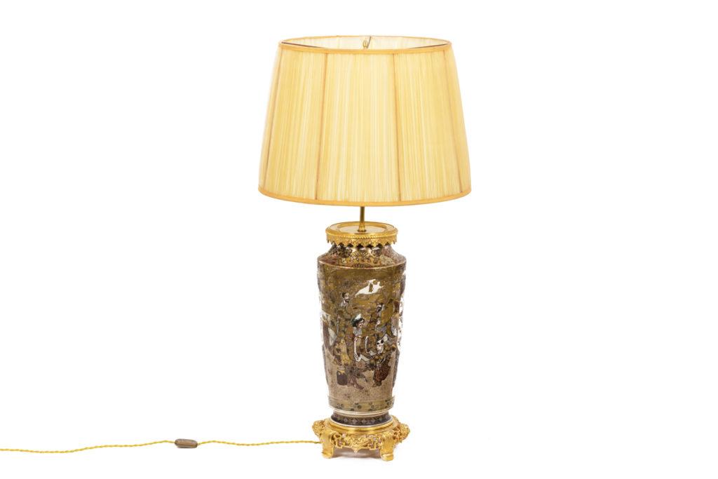 Lampe en faïence fine de Satsuma et bronze doré, circa 1880