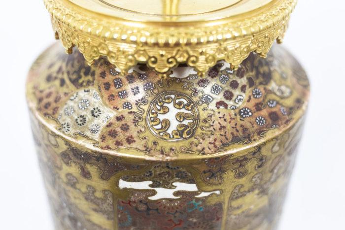 Lampe en faïence fine de Satsuma, haut de la lampe