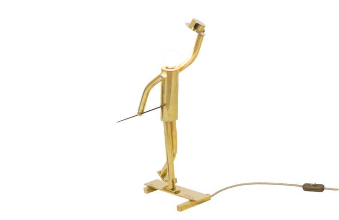 Lampe représentant un danseur de music hall en bronze doré