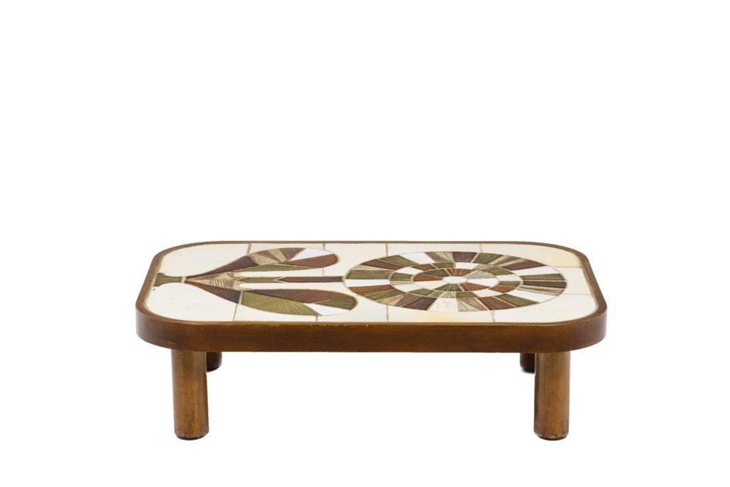 Roger Capron, Table basse en bois et céramique, années 1960