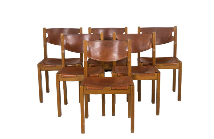 Maison Regain, Series of six chairs in elm and leather