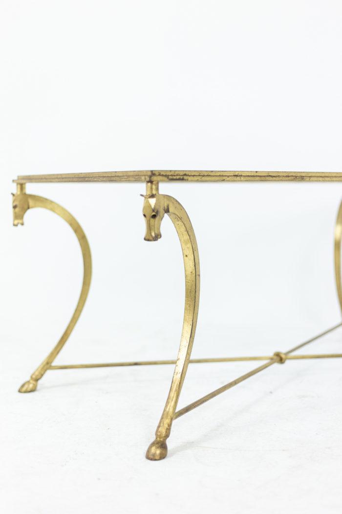 Maison Ramsay, dans le style de Jean-Charles Moreux, Table basse en fer à motifs de chevaux, détails 1