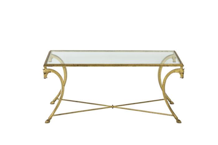 Maison Ramsay, dans le style de Jean-Charles Moreux, Table basse en fer à motifs de chevaux, de face