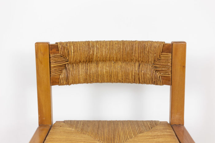 Maison Regain, Series of six chairs in elm and straw 2
