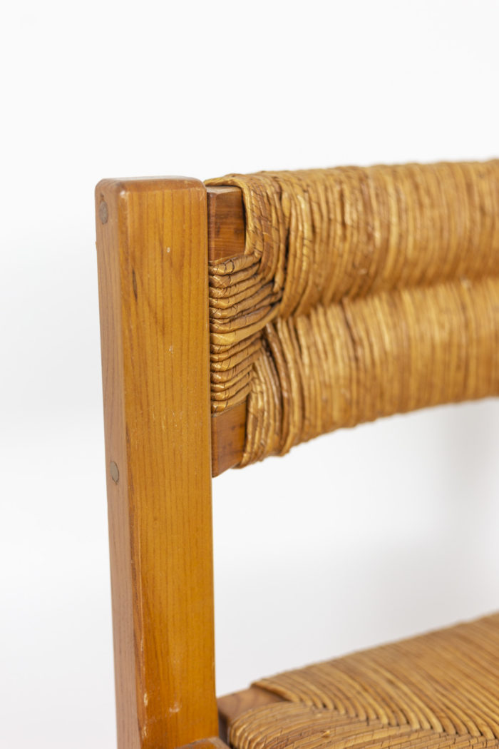 Maison Regain, Series of six chairs in elm and straw 6