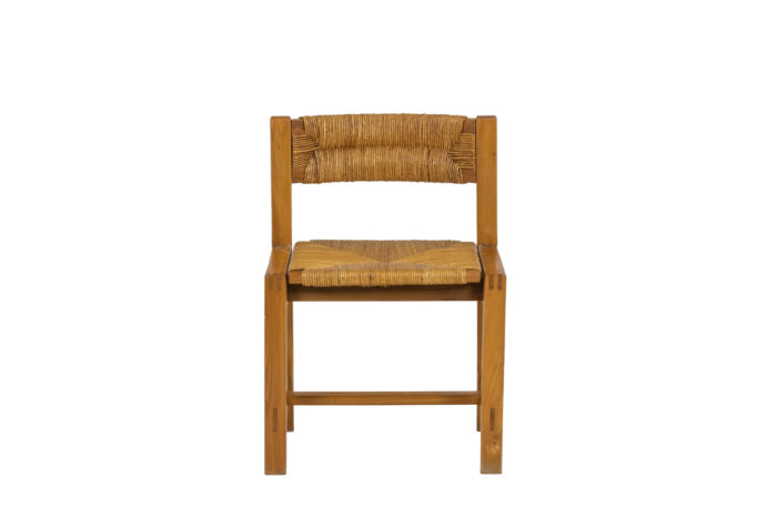 Maison Regain, Series of six chairs in elm and straw 1