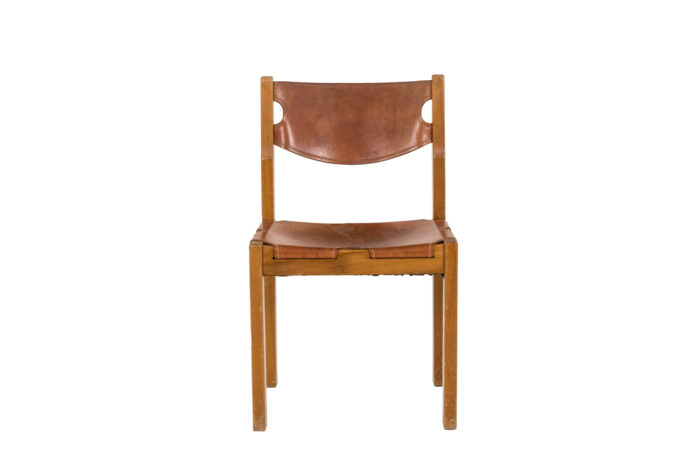 Maison Regain, Series of six chairs in elm and leather 1