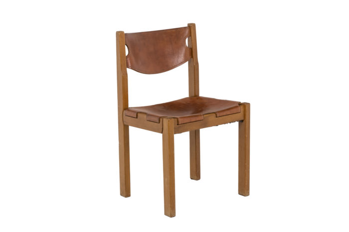Maison Regain, Series of six chairs in elm and leather 2