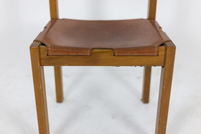 Maison Regain, Series of six chairs in elm and leather 4