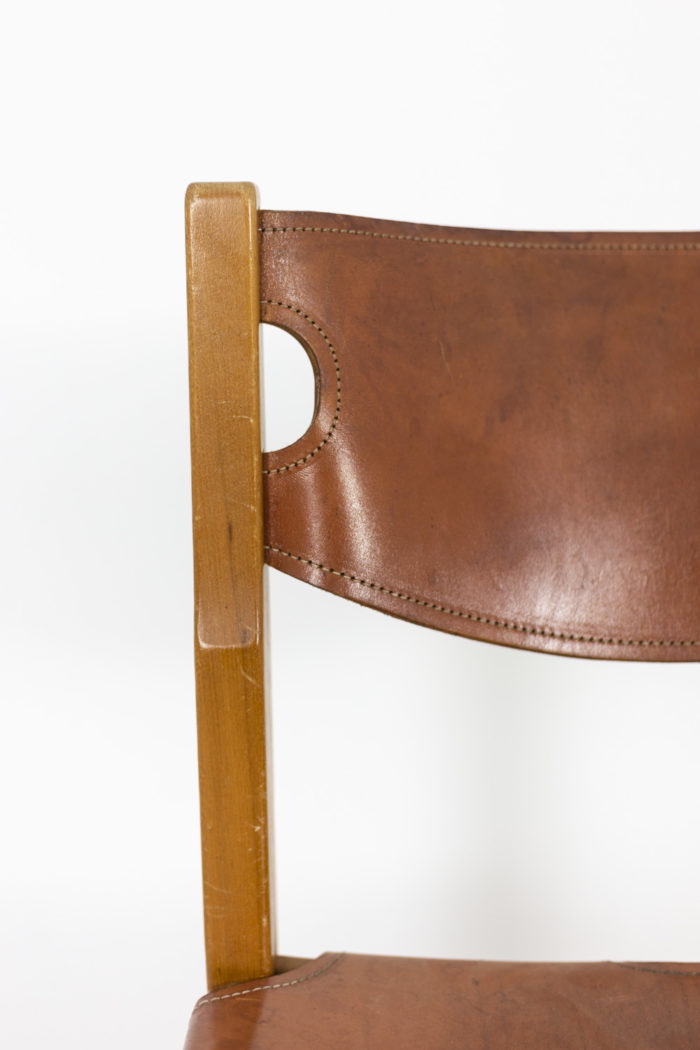 Maison Regain, Series of six chairs in elm and leather 7