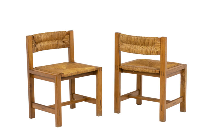 Maison Regain, Series of six chairs in elm and straw 7