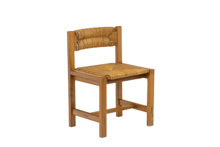 Maison Regain, Series of six chairs in elm and straw 8
