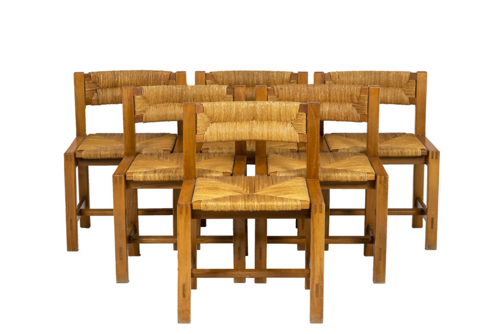 Maison Regain, Série de six chaises en orme et paille, années 1960