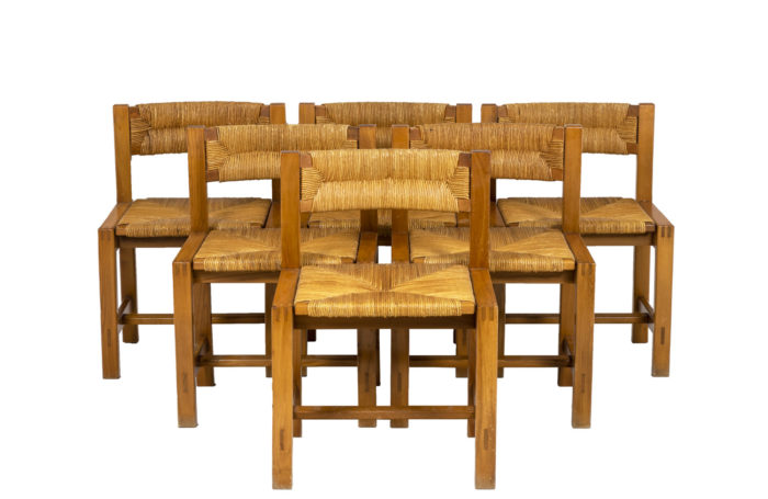 Maison Regain, Series of six chairs in elm and straw