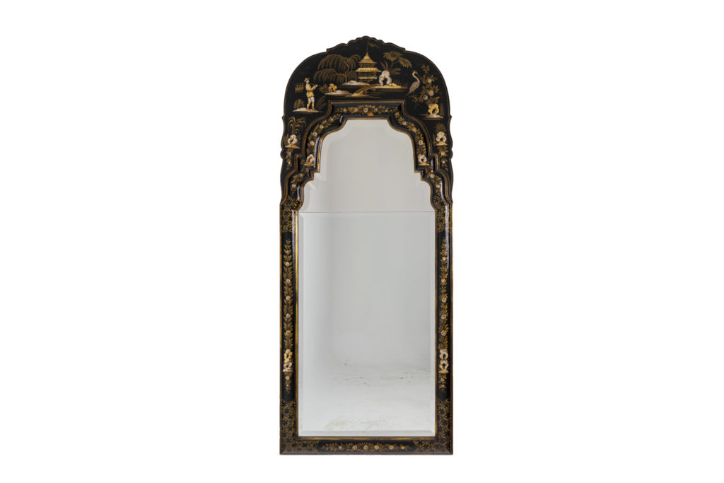 Chippendale style mirror in black lacquer, 1950's