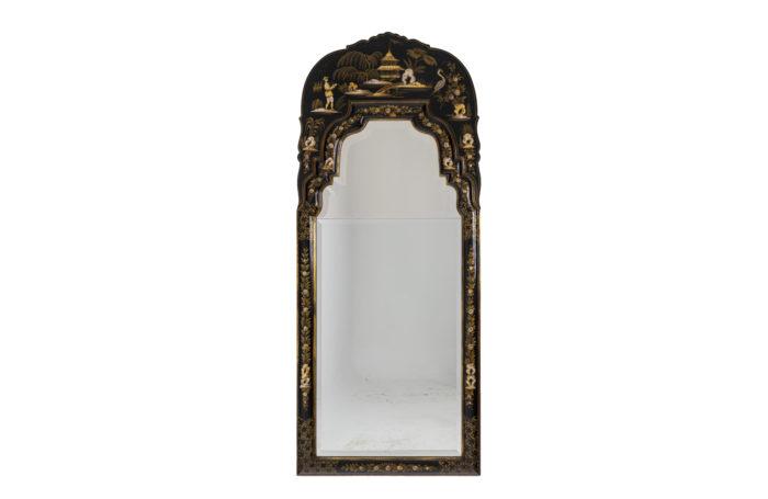 Miroir de style Chippendale en laque noir