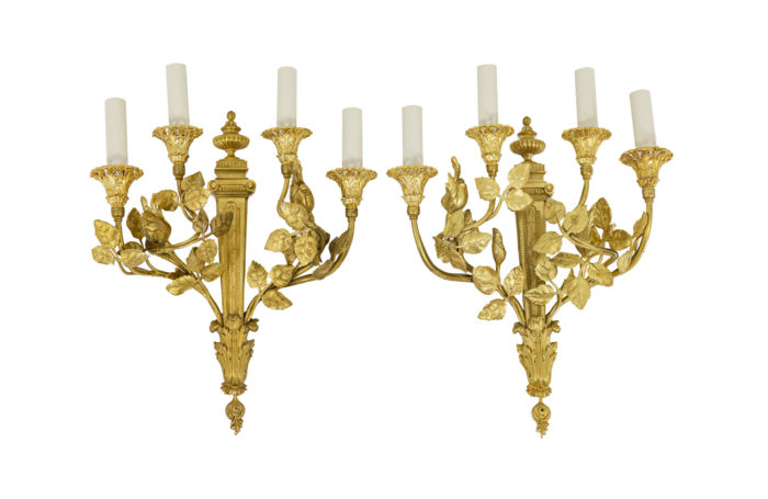Louis XVI style wall sconces in gilt bronze
