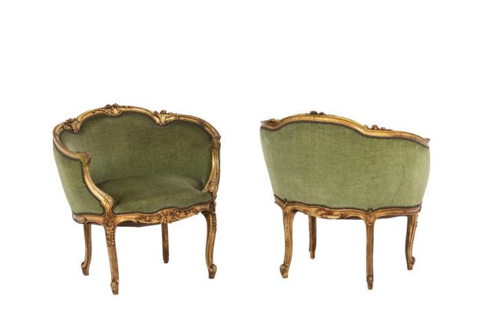 Pair of Louis XVI style low bergeres