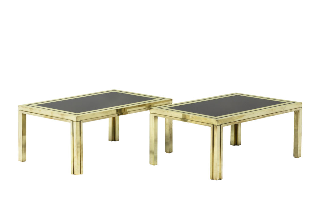 Maison Iiwans, pair of end tables in gilt brass, 1970's