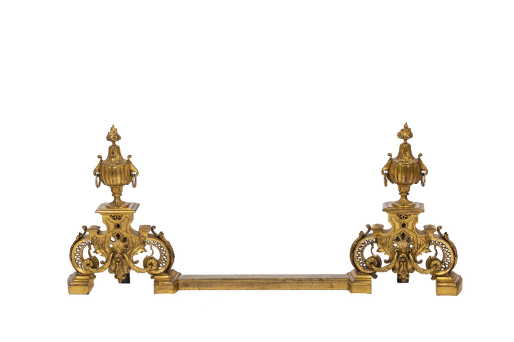 Pair of Regence style firedogs in gilt bronze, circa 1880
