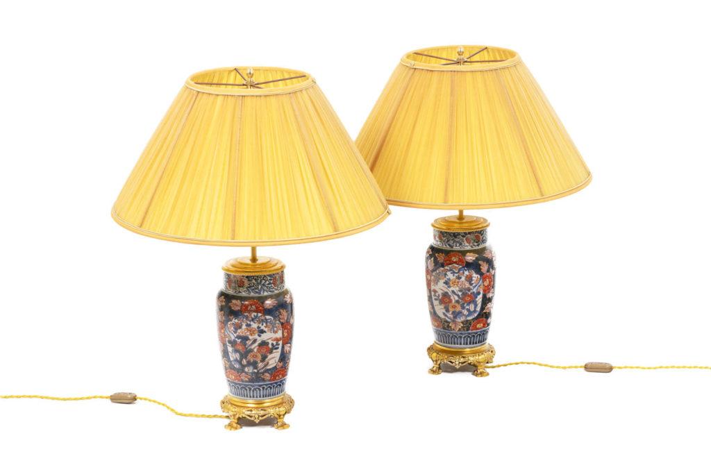 Paire de lampe en porcelaine Imari et bronze doré, XIXème siècle