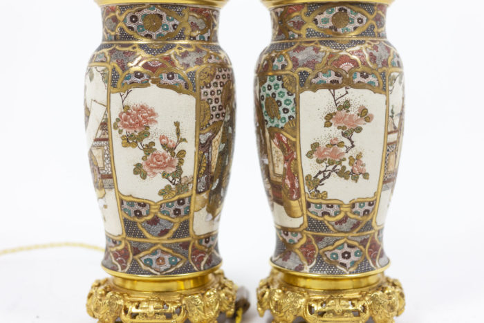 Pair of lamps in Satsuma earthenware 1