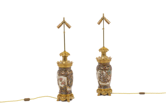 Pair of lamps in Satsuma earthenware 9