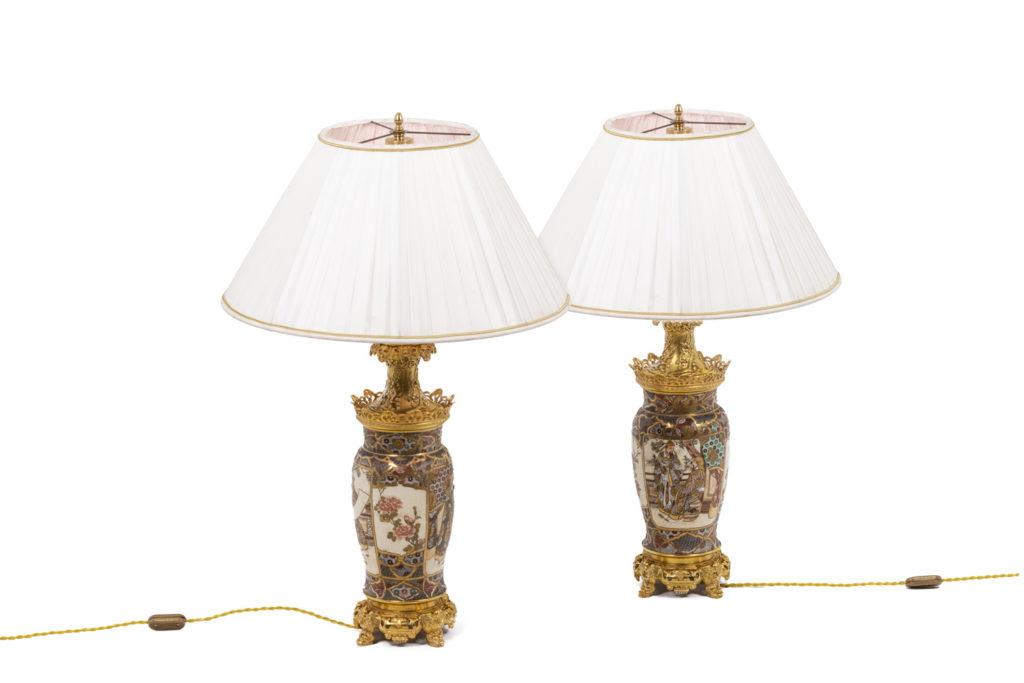 Paire de lampes en faïence de Satsuma, circa 1880