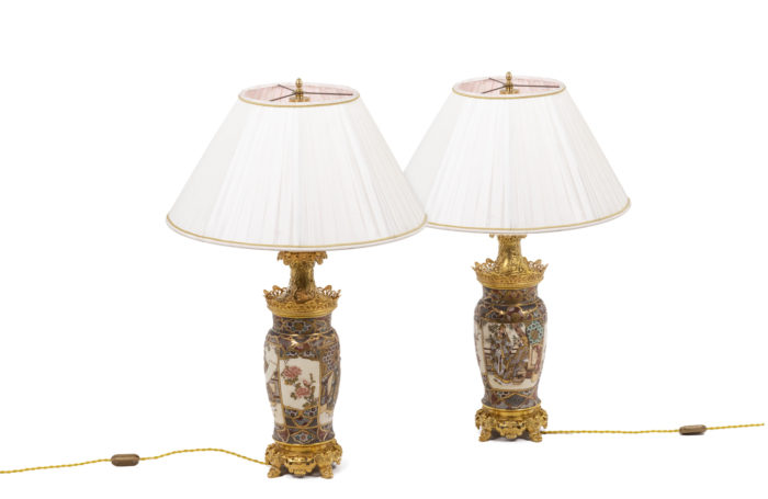 Pair of lamps in Satsuma earthenware