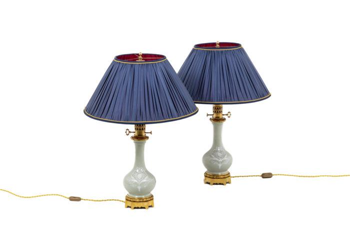 Paire de lampe en porcelaine Céladon