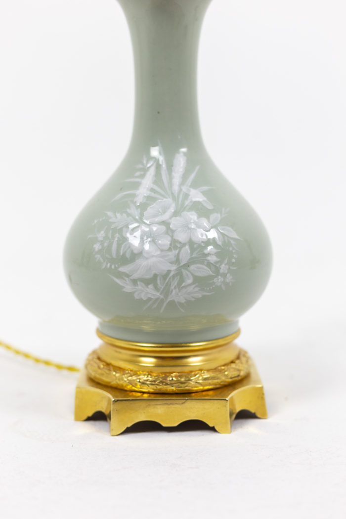 Louis XVI style pair of lamps in celadon porcelain 5