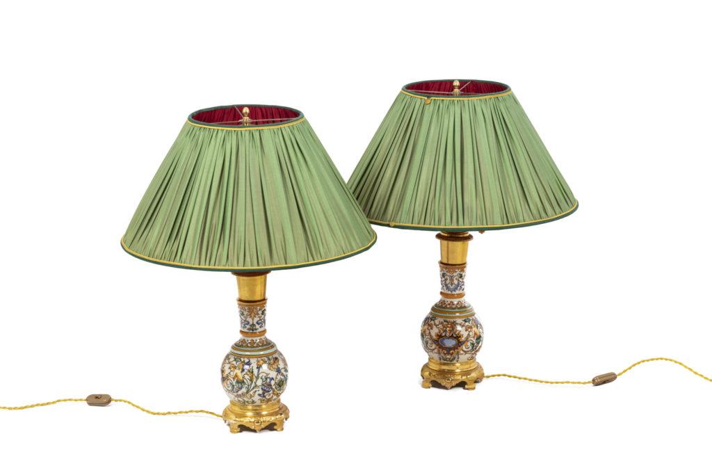 Paire de lampes en porcelaine de Gien, XIXème siècle