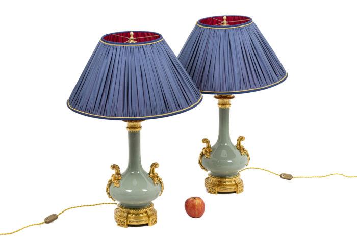Pair of lamps in celadon porcelain 6