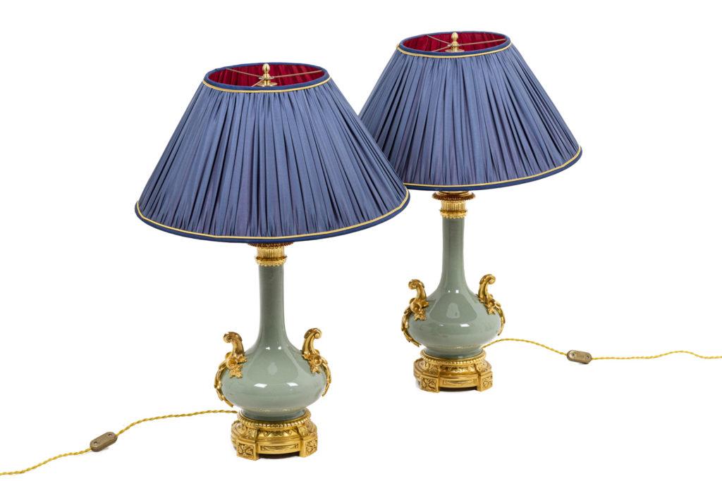 Paire de lampes en porcelaine céladon, époque Napoléon III