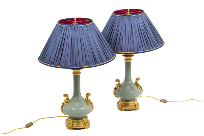 Pair of lamps in celadon porcelain