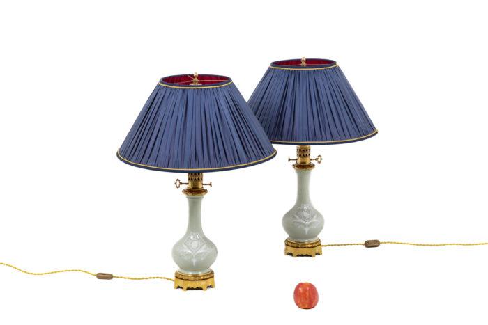 Paire de lampes en porcelaine Céladon, vue d'ensemble