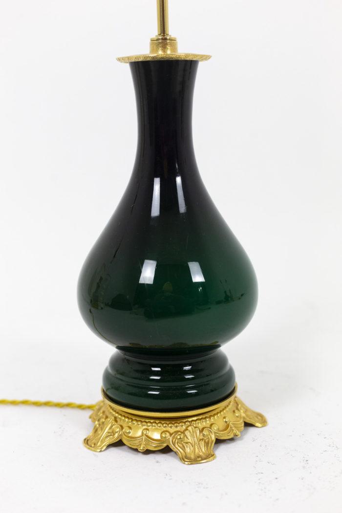 Paire de lampes vertes, détail panse